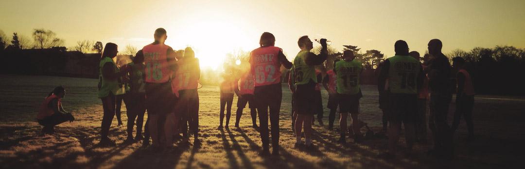 group workout sunset slider