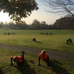 OMF Haywards Heath members exercising in Victoria Park